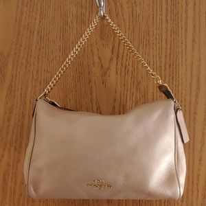 Coach Small Gold Leather Bag/Clutch w/Chain Strap